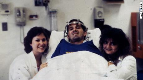 Marcus Thomas while recovering in the hospital after his skiing accident.