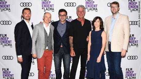 'Parts Unknown' team members Jeff Allen, Zach Zamboni, Tom Vitale, Sandy Zweig in addition to Hunter Gross with Bourdain in 2017