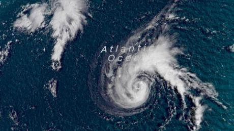 Tropical Storm Florence is shown in a satellite image from Saturday morning.