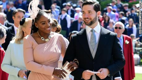 US tennis player Serena Williams and her husband Alexis Ohanian at Prince Harry and Meghan's wedding.