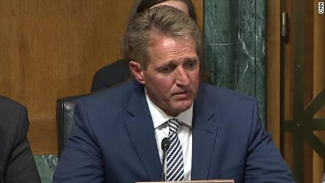 Senator Flake faces dramatic confrontation by survivors