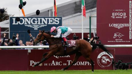 Jockey Frankie Dettori rode Enable to victory in the 2017 Prix de l'Arc de Triomphe at Chantilly.