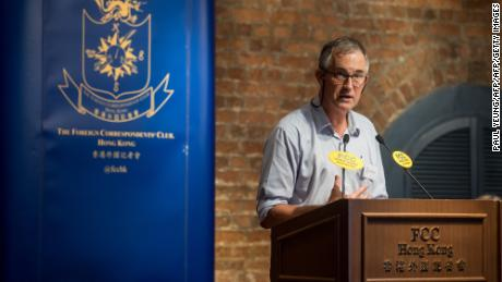 Victor Mallet, a Financial Times journalist, speaks at an event hosted by the Foreign Correspondents' Club (FCC) in Hong Kong,  August 14, 2018.