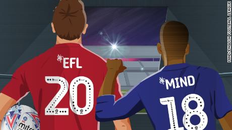 An image promoting the two-year partnership between Mind and the English football league in 2018.