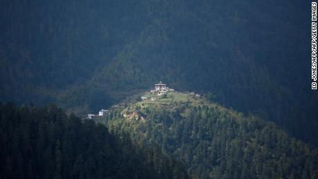 A monastery on a hilltop in the Haa valley, Bhutan. The valley was off-limits to tourists until 2002.
