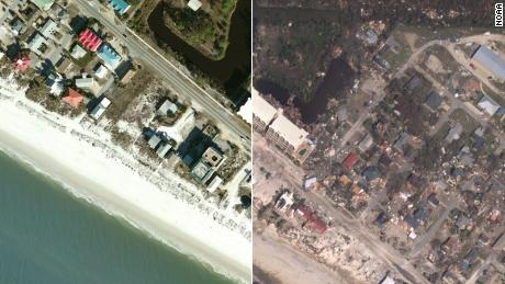 Before and after images show there's nothing left in some parts of Mexico Beach