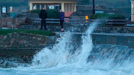 People avoid the waves on Salthill promenade Co Galway during Storm Callum