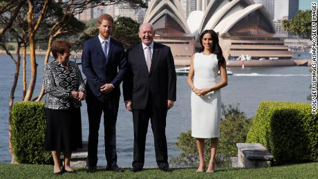 Lady Lynne Cosgrove,  Prince Harry, Australia Governor-General Peter Cosgrove and Meghan Markle pose during a Welcome Event at Admiralty House on Tuesday in Sydney.