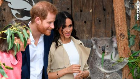 Prince Harry and Meghan, Duchess of Sussex meet Ruby, a mother Koala who gave birth to koala joey Meghan.