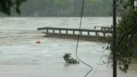 Raging floodwaters destroy bridge over Central Texas river