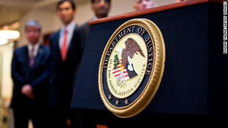 NEW YORK, NY - DECEMBER 11: A US Department of Justice seal is displayed on a podium during a news conference to announce money laundering charges against HSBC on December 11, 2012 in the Brooklyn borough of New York City. HSBC Holdings plc and HSBC USA NA have agreed to pay $  1.92 billion and enter into a deferred prosecution agreement with the U.S. Department of Justice in regards to charges involving money laundering with Mexican drug cartels. (Photo by Ramin Talaie/Getty Images)