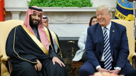 US President Donald Trump (R) meets with Saudi Arabia's Crown Prince Mohammed bin Salman in the Oval Office of the White House on March 20, 2018 in Washington, DC. / AFP PHOTO / MANDEL NGAN        (Photo credit should read MANDEL NGAN/AFP/Getty Images)
