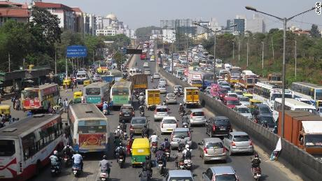 Heavy traffic in  Bangalore.