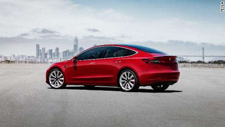The Tesla Model 3 Performance has two electric motors producing a total of 450 horsepower