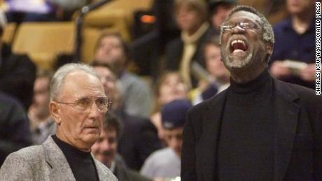 Bob Cousy and Bill Russell in 1999 in Boston; the two recently reconnected.