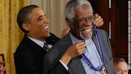 President Obama presents Bill Russell the Medal of Freedom in 2010. Russell was not just a pioneer on the court, he was an outspoken black athlete at a time when most stars kept out of politics. Russell still speaks out.