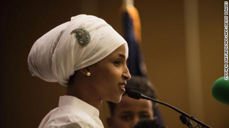 Ilhan Omar, a candidate for State Representative for District 60B in Minnesota, gives an acceptance speech on election night, November 8, 2016 in Minneapolis, Minnesota.  Omar, a refugee from Somalia, is the first Somali-American Muslim woman to hold public office. / AFP / STEPHEN MATUREN        (Photo credit should read STEPHEN MATUREN/AFP/Getty Images)