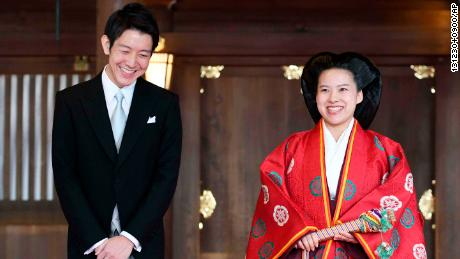 The newlyweds, Princess Ayako and Kei Moriya, talk to reporters after their marriage ceremony at the Meiji Shrine in Tokyo on October 29, 2018.