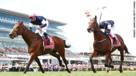Corey Brown rode Rekindling to victory in the Melbourne Cup at Flemington in 2017