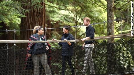 Prince Harry and Meghan, Duchess of Sussex, visit the Redwoods Tree Walk in Rotorua.