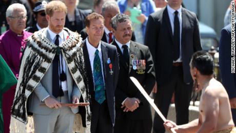 Prince Harry is greeted at Te Papaiouru Marae with a traditional powhiri (welcome Maori) in Rotorua.