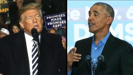 Trump versus Obama on final USA campaign weekend