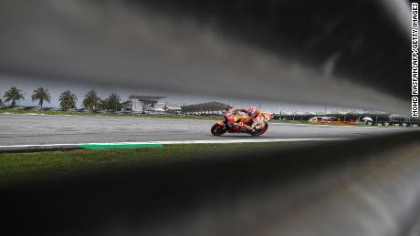 Marquez negotiates a corner during the second practice session of the Malaysia MotoGP in November 2018.