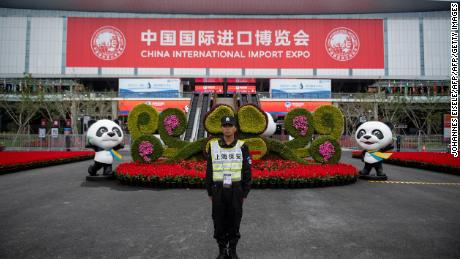 A security guard stands at the entrance to the first China International Import Expo (CIIE) in Shanghai on November 5.