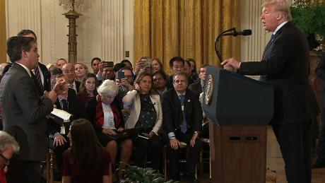 Trump clashes with reporters during fiery White House news conference