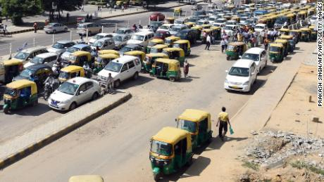 A traffic jam during a clean air day in Gurgaon, New Delhi.