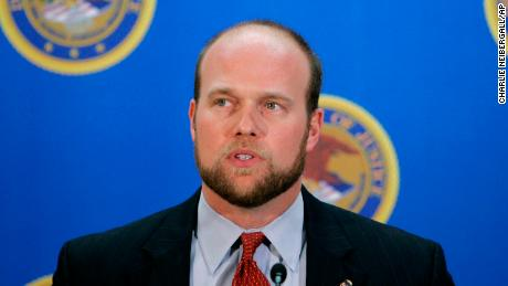 U.S. Attorney Matthew Whitaker speaks during a news conference Wednesday Dec. 20 2006 in Des Moines Iowa. The federal government has charged 23 illegal aliens taken into custody last week at a raid at a Swift & Co. meatpacking plant in Marshalltown I