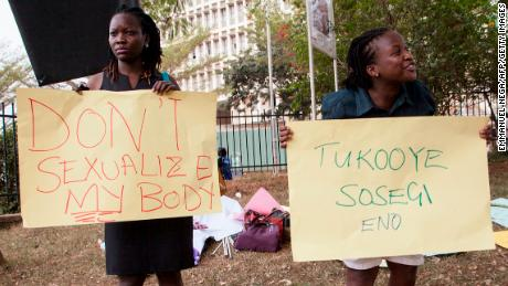 Women protest the anti-pornography and dress code legislation on February 26, 2014 in Kampala.