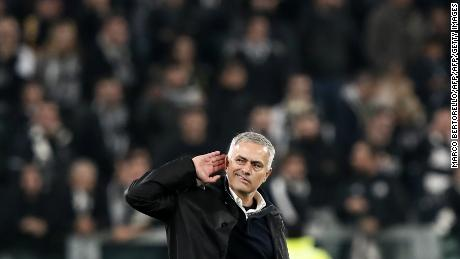Jose Mourinho gestures to the crowd after Manchester United beat Juventus.