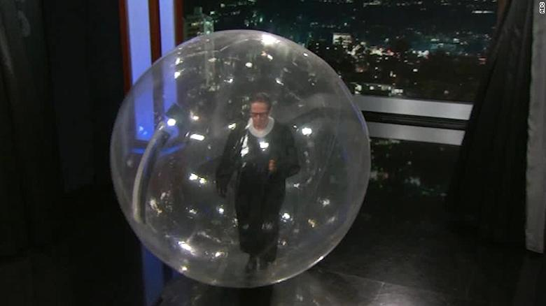 Kimmel unveils bubble for Ruth Bader Ginsburg