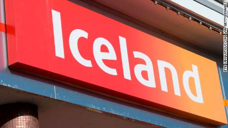Iceland frozen foods shop sign