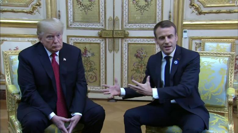 Donald Trump ignores Emmanuel Macron 'nationalism' dig, honors veterans in France