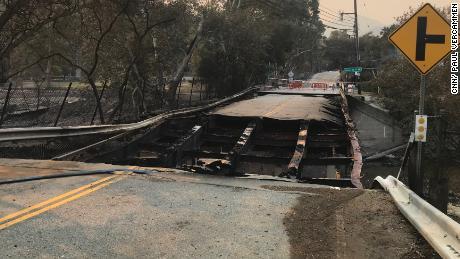 A bridge near Agoura Hills,  California, was also heavily damaged.