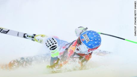 American downhiller Steve Nyman heads towards the 'red room' at Kitzbuehel.