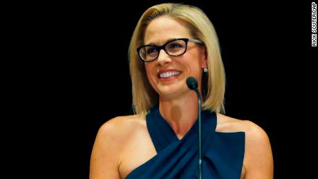 Newly-elected U.S. Sen. Kyrsten Sinema, D-Ariz., declares victory over Republican challenger U.S. Rep. Martha McSally, Monday, Nov. 12, 2018, in Scottsdale, Ariz. Sinema won Arizona's open U.S. Senate seat in a race that was among the most closely watched in the nation, beating McSally in the battle to replace GOP Sen. Jeff Flake. (AP Photo/Rick Scuteri)