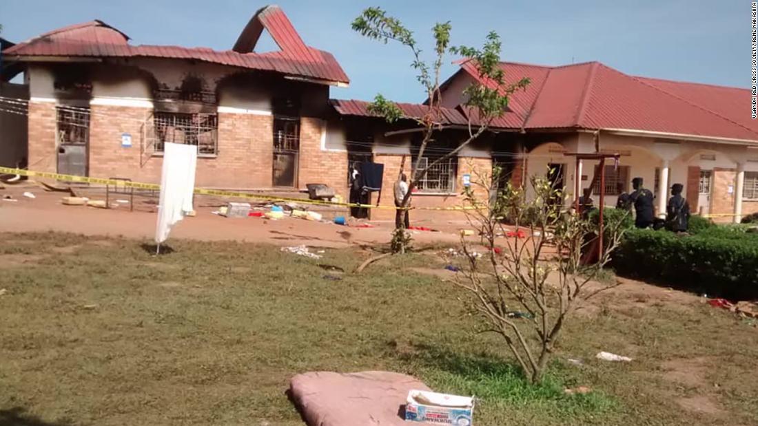The burned dormitory at the St. Bernard Secondary School in Rakai, in southwest Uganda.