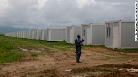 Myanmar border police secure a newly set up Hla Phoe Khaung transit camp intended for the repatriation of Rohingya refugees from Bangladesh.