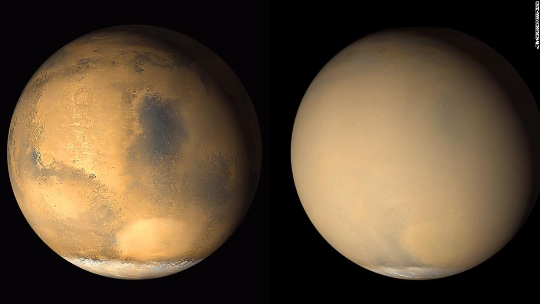 Mars is known to have planet-encircling dust storms. これら 2001 images from NASA's Mars Global Surveyor orbiter show a dramatic change in the planet's appearance when haze raised by duststorm activity in the south became globally distributed.