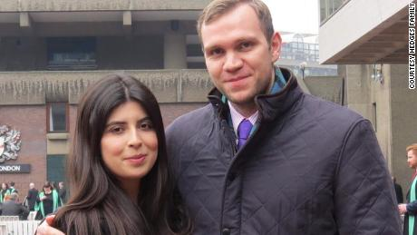 Hedges pictured alongside wife Daniela Tejada, who says the UK's handling of the case was inadequate.
