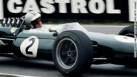 Denny Hulme, Brabham's teammate, racing the BT20 at Brands Hatch.