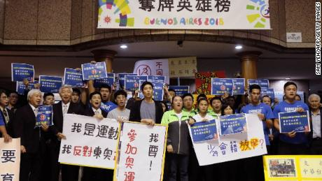"""Taiwanese athletes and trainers oppose a proposal to change the name it uses at sports events from the current """"Chinese Taipei"""" on November 21, 2018."""