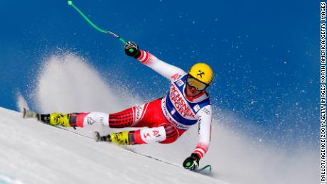 Max Franz of Austria on his way to first place in the World Cup men's downhill at Lake Louise in Canada.