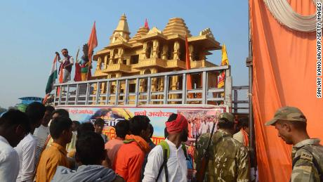 A model of the Ram temple during the 'Dharam Sabha' Hindu congregation held to call for the construction of a grand temple of Lord Rama, in Ayodhya on November 25, 2018.