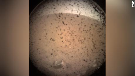 NASA's InSight Mars lander acquired this image of the area in front of the undercarriage using its instrument-mounted context camera on the undercarriage.