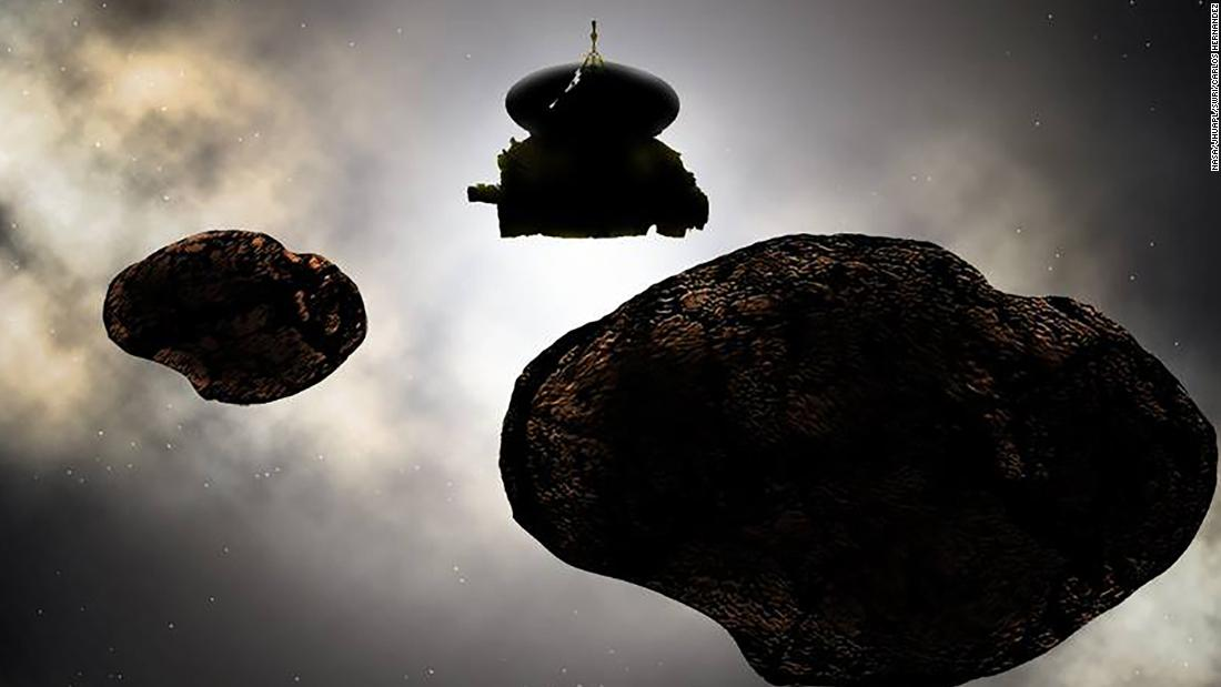 Artist's concept of NASA's New Horizons spacecraft flying by MU69 on New Year's Day in 2019.