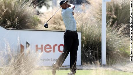 Woods plays off the third hole at the Hero World Challenge.